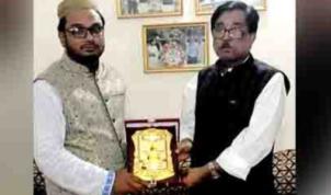 মৌলভীবাজার জেলা পরিষদের সদস্য মাহবুবুর রহমান মান্না'র সম্মাননা স্মারক প্রদান